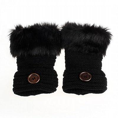 Gugzy® Fur Fingerless Black Knitting Wool Mittens Wrist Winter Gloves for Women