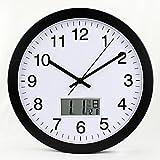 WuLii Decor Orologio da parete con calendario rotondo, orologio da parete per soggiorno, orologio da parete moderno, silenzioso, camera da letto, orologio al quarzo, 12 pollici, nero con cornice bianca