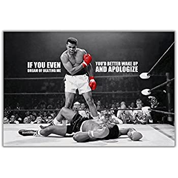 Black and white muhammad ali ko with famous dream quote poster art pictures wall prints sports