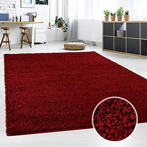 Hochflor Teppich | Shaggy Teppich fürs Wohnzimmer Modern & Flauschig | Läufer für Schlafzimmer, Esszimmer, Flur und Kinderzimmer | Langflor Carpet rot 120x170 cm