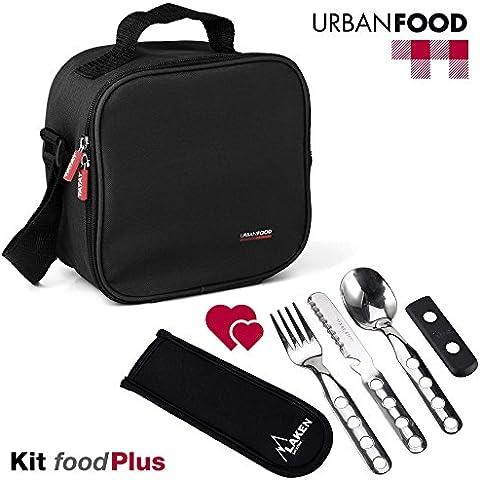 TATAY Kit Urban Food Negro con Cubiertos - Bolsa Térmica Porta Alimentos con Tapers Herméticos