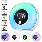 EXTSUD Sveglia Digitale Wake Up Light Ricaricabile Dimmerabile da Comodino con 5 Colori Luce Notturna 4 Luminosità Snooze Altoparlante Bluetooth Lampada Sveglia per Stanza Bambini Adulti Regalo Amici