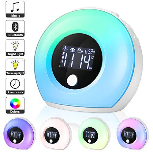 EXTSUD Despertador Digital Led Reloj Despertador Recargable Despertador Lámpara Mesilla de Noche con Altavoz Bluetooth, 5 Colores y 4 Brillo Ideal para Niños/Adultos/Regalo Amigos