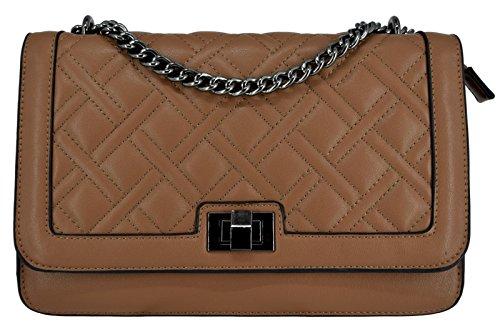 CRAZYCHIC - Damen Kette Tasche mit Gesteppte PU Leder - Kettenhenkel Handtasche - Steppmuster Schultertasche - Stepptasche Kettentasche Umhängetasche - Drehkreuz Verschluss Abendtasche - Kamel Braun (Vintage Schulter Tasche Gesteppte)