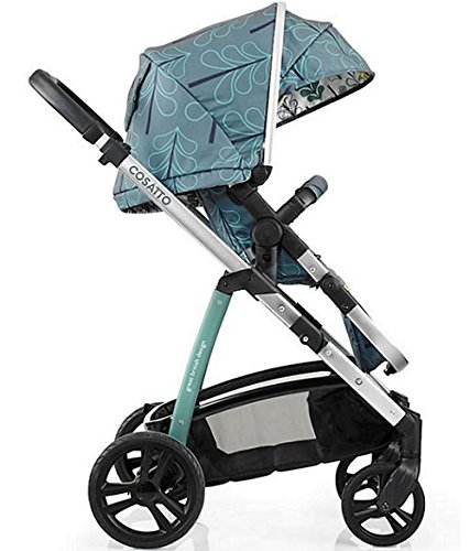 Cosatto wow Travel system with Port bag and footmuff in Fjord Cosatto Includes - Pushchair, Carrycot, Port Car seat, Footmuff, Changing bag and Raincover Suitable from birth up to 15kg (4 years approx.) 'In or out' facing pushchair seat lets them bond with you or enjoy the view. 4