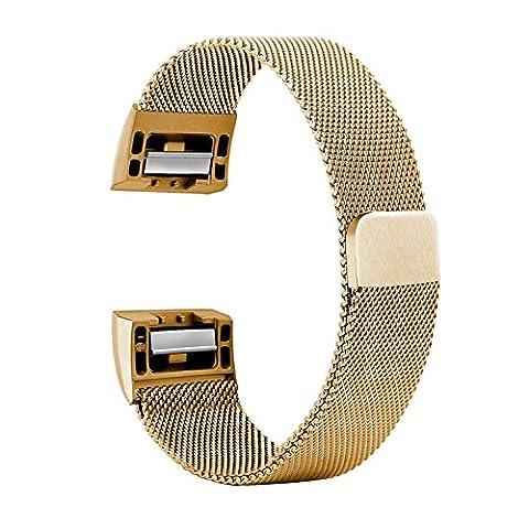 CUZOW Milanaise bande Watchband Fitness Replacement Bracelet Milanais pour Fitbit Charge 2 (S, Gold)