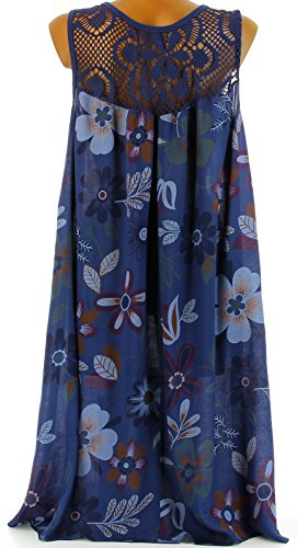 Charleselie94® - Robe été bohème haut dentelle fleurs - MARGUERITE -Bleu Marine Bleu - Marine