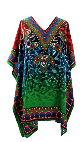 Mia Creations Damen Übergröße Kurzer Kaftan (Rot-Grün-Blau) (Kaftan Kurze Kleid)