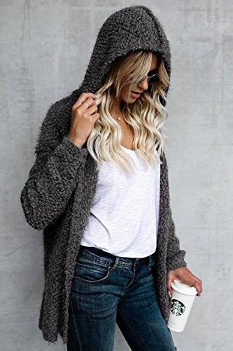 Le Donne Inverno Solido Aperta Davanti In Giacca Outwear Parka Crestata Grey