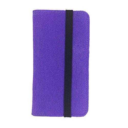handy-point Universell Organizer für Smartphone Tasche aus Filz Filztasche Filzhülle Hülle Schutzhülle mit Kartenfach für Samsung, iPhone, Huawei (5,3-5,5 Zoll max 16,5 x 8,3cm, Lila)