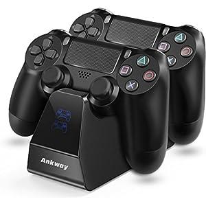 PS4 Controller Ladegerät Ankway Dual Schnellladefunktion Ladestation Ständer mit LED Anzeige PS4 Accessoire für Playstation 4 / PS4 Pro / PS4 Slim Controller