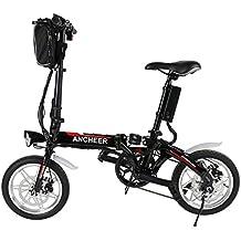 Lonlier Mini Bicicleta Eléctrica Plegable de Montaña con Rueda de 14 pulgadas Batería de Iones de Litio Negro