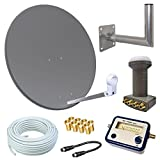 HD Sat Anlage 80cm Spiegel + Skymaster Quad LNB für 4 Teilnehmer + 50m Kabel + 40cm Wandhalter + SAT FINDER (3 Farben wählbar)