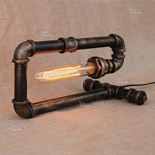 Modeen lampada da tavolo industriale singola industriale da tavolo lampada rustica in ferro battuto stufa di acqua stile camera da letto sala da pranzo bar cafe bar da letto sul letto lampada da tavolo lampada da tavolo