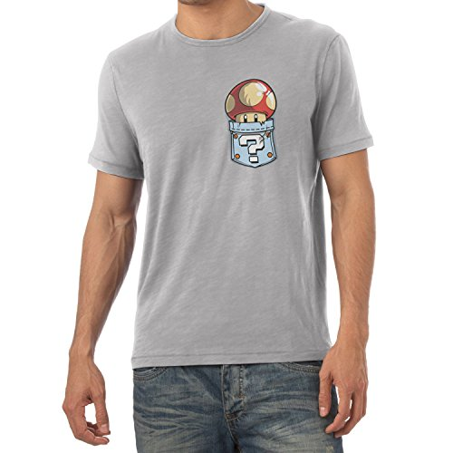 TEXLAB - Mushroom in a Pocket - Herren T-Shirt Grau Meliert