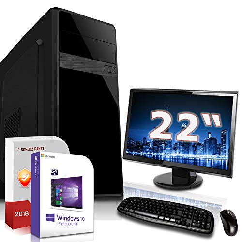 Multimedia/Office PC mit TFT Intel Quad Core J1900 4x2,42GHz|22 Zoll Monitor|8GB DDR3|120GB SSD|Intel HD Graphics HDMI|DVD-RW|USB 3.0|SATA3|Windows 10 Pro|3 Jahre Garantie Dvdrw Intel Hd Graphics