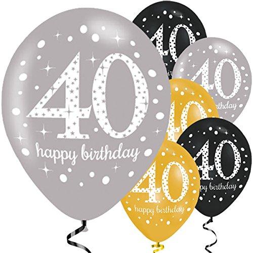 40.ster Geburtstag. Komplettes Party Set zum 40 Geburtstag Gold Schwarz Silber plus Glitter, 41 Teile komplette Dekoration zum 40 Happy Birthday - 3