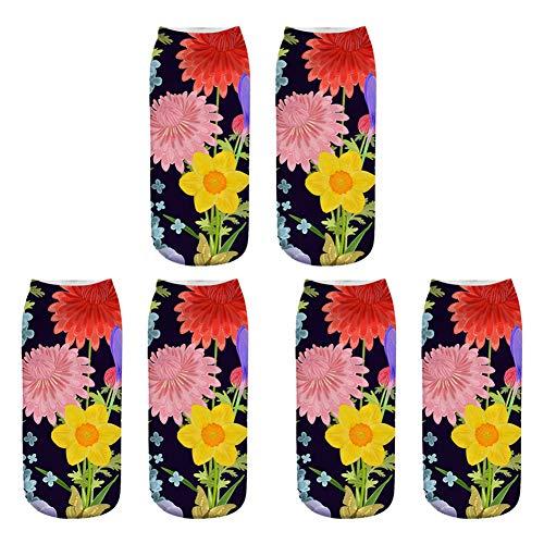 Scrox 3 Pares Calcetines para Hombre,Mujer y Niño 3D Planta Tropical Patrón Socks Unisex Casual Retro Piso Calcetines Modernos Originales y Deportivos (Q)