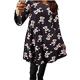 Weihnachten Kleider, GJKK Damen Frauen Weihnachtselche Gedruckt Kleid Langarm O-Ausschnitt Party Kleid Ausgestelltes Swing Kleid MiniKleid (Grau, S)