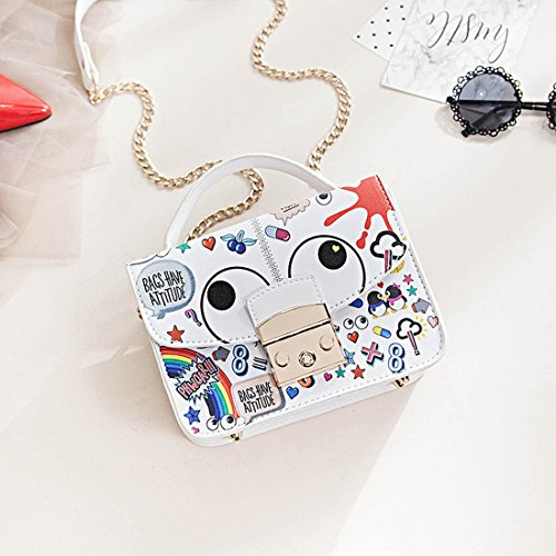 Art und Weise Einfache Graffiti Schulter Messenger Handtasche Cartoon Handtaschen Kleine Quadratische Tasche Weiß