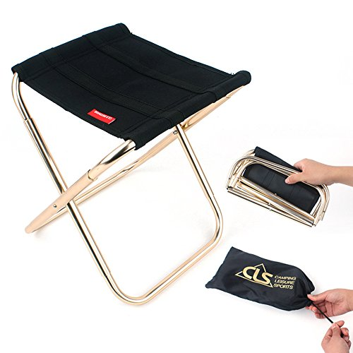 paracity Camping Klappstuhl Stühle Leichtes Aluminium Material mini Stuhl tragbar outdoor Hocker für Angeln Wandern Camping Picknick Reise, Folding Stool-Gold (Leichte, Tragbare Stühle)