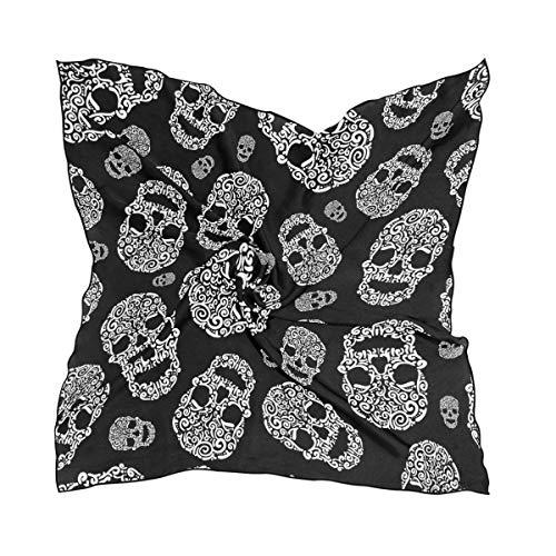 DOSHINE Schal aus Seide, für Halloween, Blumen, Totenkopf, leicht, weich, schimmernd