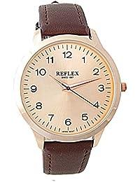 Reflex REF0024 Herren-Armbanduhr, Quarz, rund, Rot vergoldet, analoges Ziffernblatt, braunes Kunstleder-Armband
