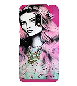 PrintVisa Beautiful Girl Art 3D Hard Polycarbonate Designer Back Case Cover for Motorola Moto G4 PLAY