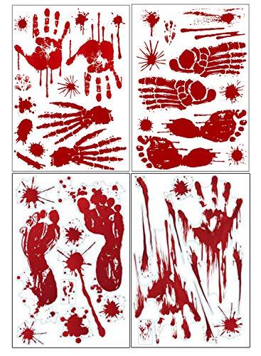 Gizhome Halloween-Dekoration, blutige Handabdrücke und Fußabdruck, 8 Bögen (Party Halloween Eingang Ideen)