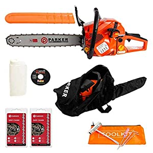 """58CC 20"""" PETROL CHAINSAW + 2 x CHAINS - FREE CARRY CASE - BAR COVER - TOOL KIT 5"""