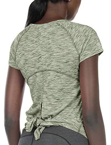 icyzone Damen Yoga T-Shirt Sport Kurzarm Shirt Oberteile Fitness Gym Tops