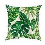 Funda de cojín con diseño de plantas verdes tropicales