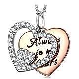 Muttertagsgeschenke Anhänger Halskette PRINCESS NINA Immer in meinem Herzen Damen Kette Silber 925 Schmuck Geschenke für Valentinstag Muttertag Geburtstag Graduierung Engagement Hochzeit Jahrestag