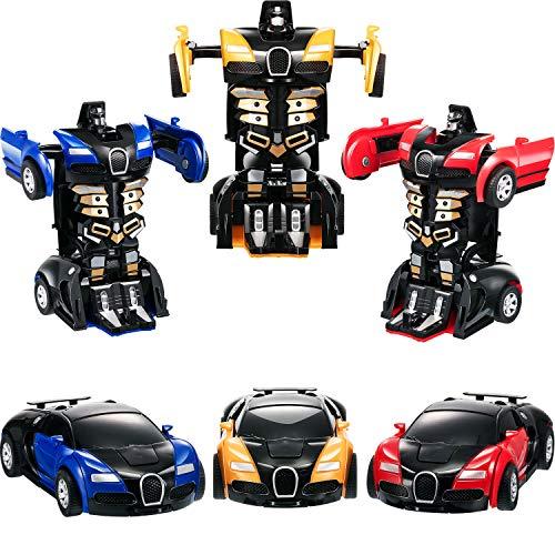 3 Pezzi Giocattolo dell'automobile del Robot 2 in 1 Automobile Trasformabile per i Bambini Ragazzi Giocano i Regali di Compleanno di Natale (Blu Giallo e Rosso)