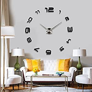 3D EXTRA LARGE LUXURY MIRROR WALL STICKER CLOCK LAYOUT ...