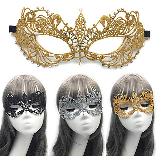 Maskerade Maske Frauen-Elegante Abschlussball-Halloween-Maskerade-Partei-Maske Charming Lace Eye Mask (Color : Gold)