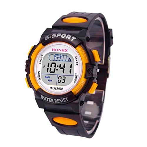 g shock kinder Promotionen PLOT Jungen Armbanduhr | 2018 Neu | LED Sportuhr Wasserdicht | Studenten Uhr | Geschenk Für Jungen | Wecker Digital | Einstellbar Gummi Uhrenband (Gelb)