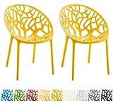 CLP 2er-Set Gartenstuhl Hope aus Kunststoff I 2X Wetterbeständiger Stapelstuhl mit Einer max. Belastbarkeit von: 150 kg I In verschiedenen Farben erhältlich Gelb