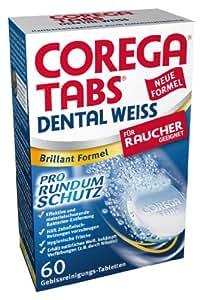 Corega - Dental weiss - Pastilles nettoyantes pour dentier - 60 pastilles