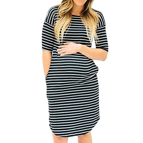 Damen Kurzarm Umstandskleid Sommer Mode Streifen Umstandsmode Frauen Freizeit Mutterschafts Kleid Umstandspyjama Nachtkleid Nachtwäsche (Schwarz (Half Ärmel), M)