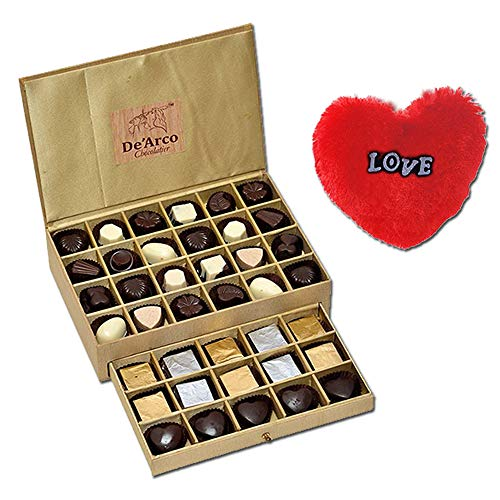 De'Arco Chocolatier Chocolates Valentine Day Gift for Girlfriend Boyfriend Husband Wife, Premium Luxury Chocolates, 44pcs + Free Fur Heart