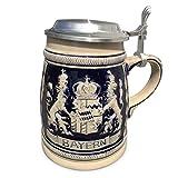 Geschenkbox Bierkrug Bayern Kobaltblau 0,5l mit Zinndeckel und Kostenloser Gravur