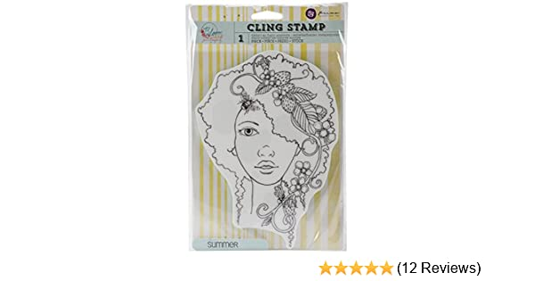 Prima Marketing Bloom Cling Rubber Stamps Summer 8-Inch by 6-Inch