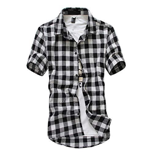 POPLY Kurzarm Hemd Oberteile für Männer Herren Plaid Malerei Jacke Große Beiläufige Spitzen Blusen Hemden Basic Lässiger