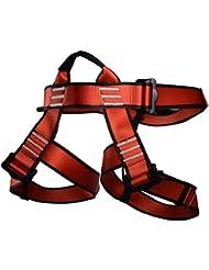 Arnés de escalada, newdoar mujeres hombre niño medio cuerpo seguro cinturones para montañismo escalada en roca Rappelling Gear, rojo