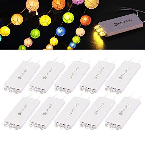 YUNLIGHTS 10 Pack Warm Weiß LED Ballon Lichter mit 3 LEDs für Papierlaternen-Ballons Nachtlichter und für Außenangebrachte Hängelichter, Wasserfest (Weiße Gebäude Haus)