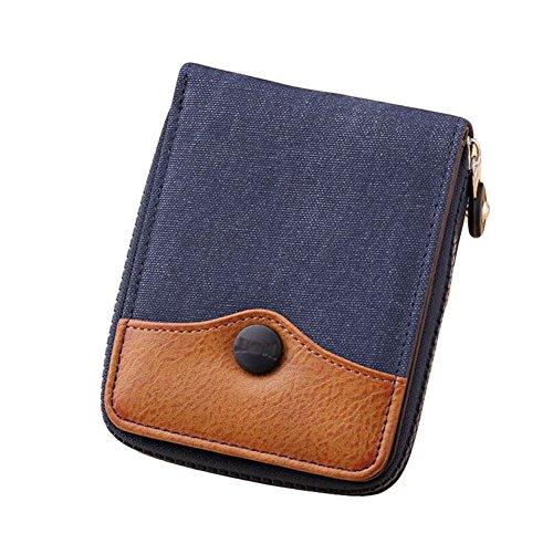 Leinwand Tri-fold Wallet (Ylen Herren Reißverschluss Portemonnaie Leinwand Geldbeutel Brieftasche Kreditkarte Halter Geld Organisator)