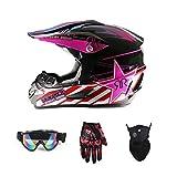 MRXUE Offroad Antikollisions Motorrad Helm, Full Face Helm Offroad Anti-Kollision Helm Kit Adult Highway Helm Geben Goggles Und Fahrrad Handschuhe Staubmaske Pink,M(55~56Cm)