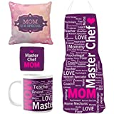 YaYa Cafe Mothers Day Gifts For Mom, Master Chef Super Mom Hamper For Mom Set Of 4 - Cushion Cover, Mug With Coaster, Apron