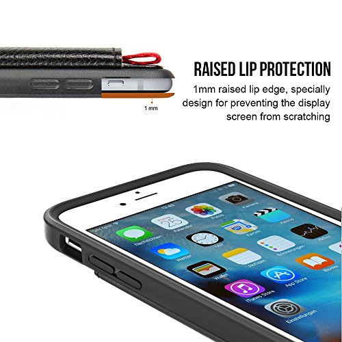 Custodia iPhone 6s, Case Portafoglio 6, Copertura Antiurto ZVE® in Supporto Porta Carte di Credito Protettiva, Flip Cover per Apple 6/6s 4.7inch Nero Nero
